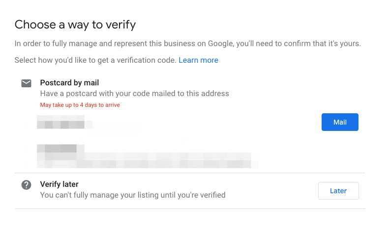 Google My Business - get postcard